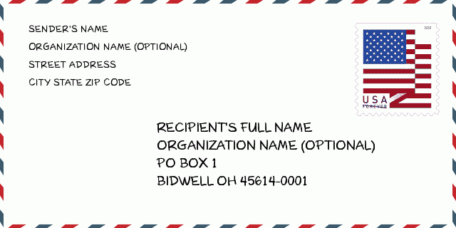 City Bidwell Oh Ohio United States Zip Code 5 Plus 4